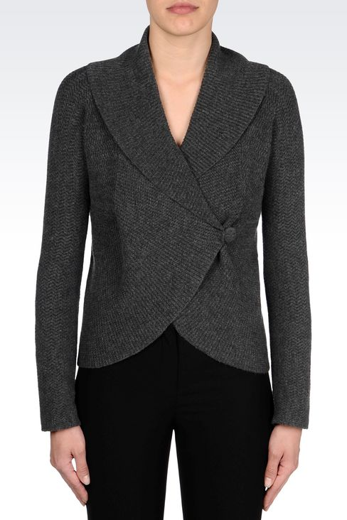 KNIT JACKET: Double-breasted jackets Women by Armani - 3