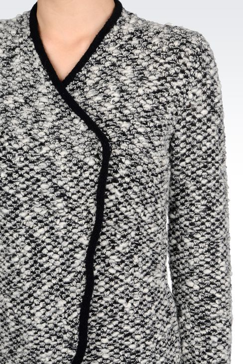 KNIT JACKET WITH ASYMMETRIC FASTENING: Knit jackets Women by Armani - 5