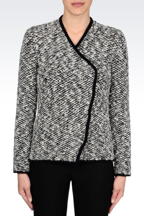 KNIT JACKET WITH ASYMMETRIC FASTENING: Knit jackets Women by Armani - 3