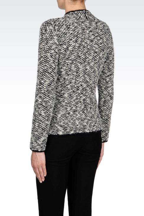 KNIT JACKET WITH ASYMMETRIC FASTENING: Knit jackets Women by Armani - 4