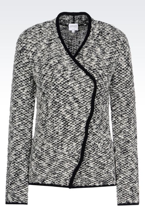 KNIT JACKET WITH ASYMMETRIC FASTENING: Knit jackets Women by Armani - 1