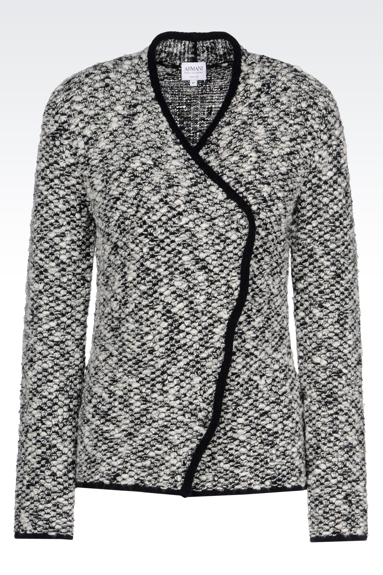 KNIT JACKET WITH ASYMMETRIC FASTENING: Knit jackets Women by Armani - 0