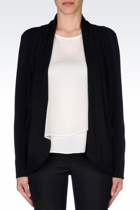 VISCOSE BLEND CARDIGAN WITH SHAWL NECKLINE: Cardigans Women by Armani - 3