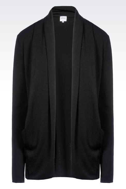 VISCOSE BLEND CARDIGAN WITH SHAWL NECKLINE: Cardigans Women by Armani - 1