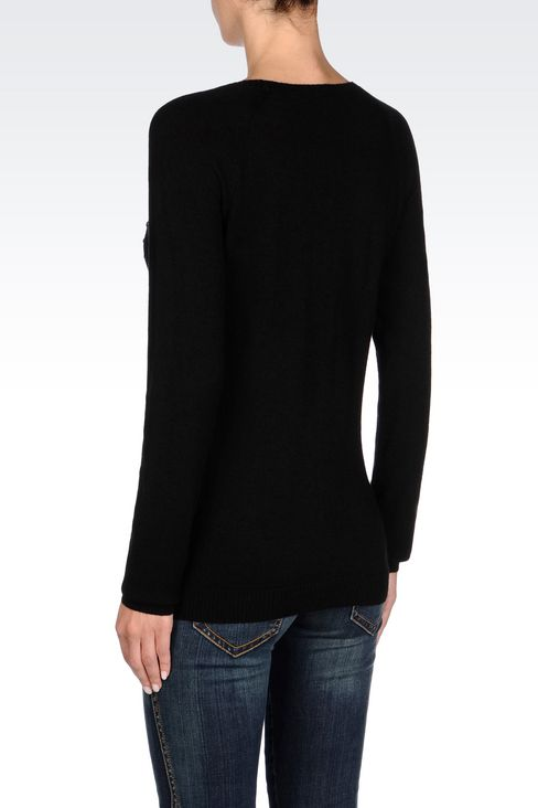 WOOL BLEND JUMPER WITH STUDS: Crewnecks Women by Armani - 4