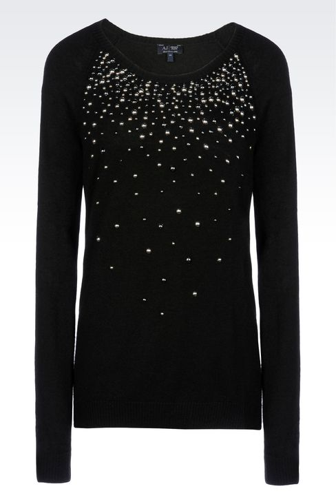WOOL BLEND JUMPER WITH STUDS: Crewnecks Women by Armani - 1