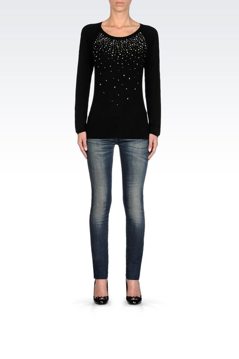 WOOL BLEND JUMPER WITH STUDS: Crewnecks Women by Armani - 2