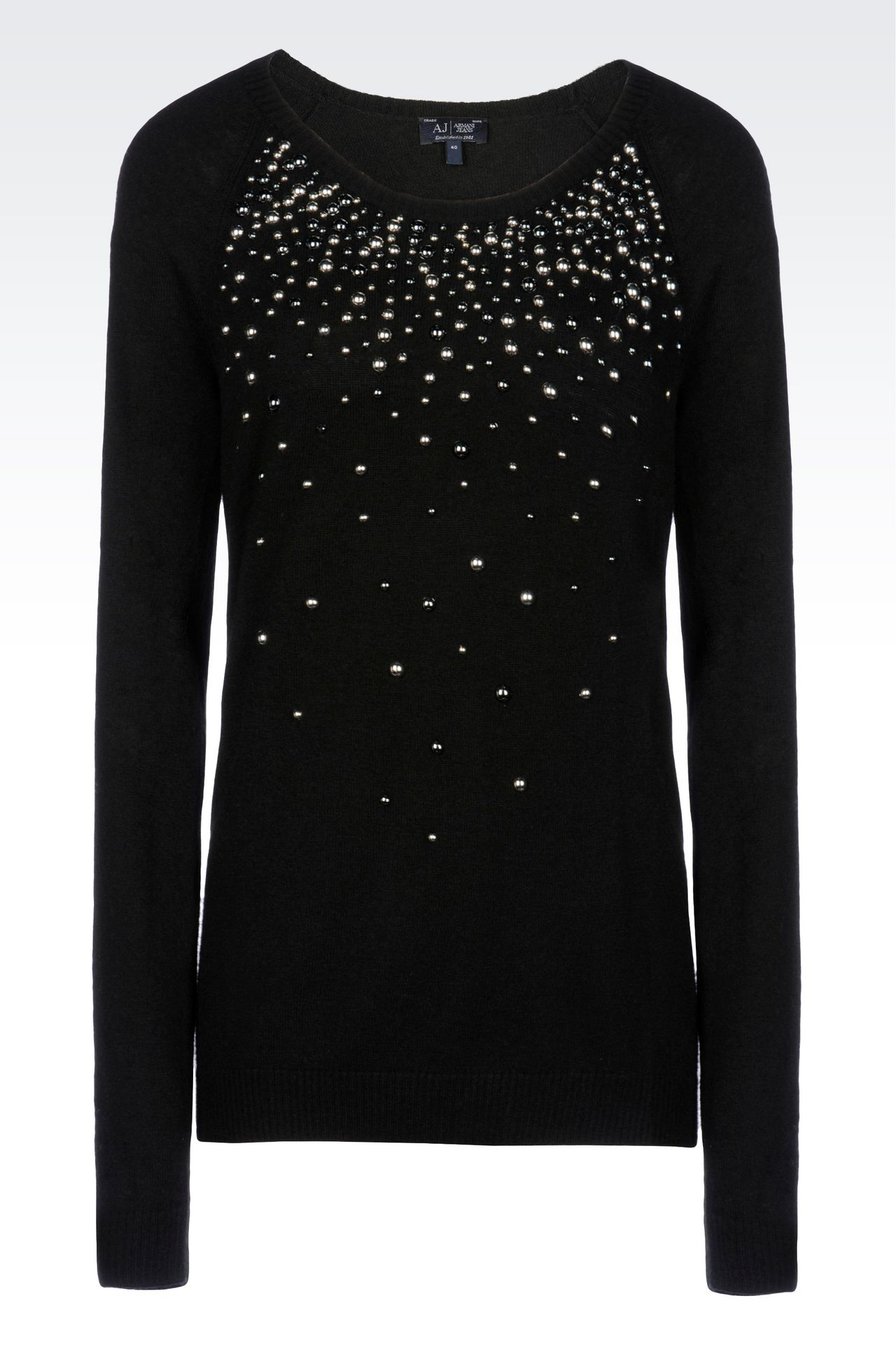 WOOL BLEND JUMPER WITH STUDS: Crewneck sweaters Women by Armani - 0