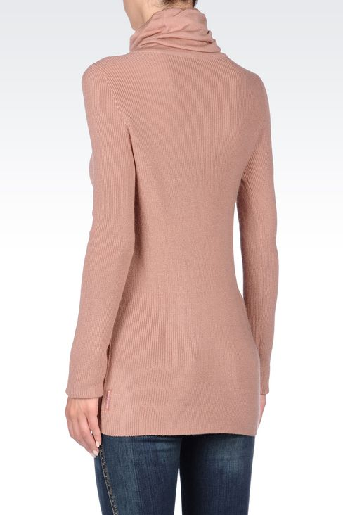 ASYMMETRIC TURTLENECK SWEATER IN WOOL BLEND: High neck sweaters Women by Armani - 4