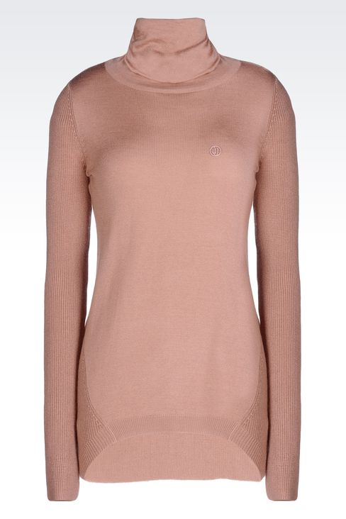 ASYMMETRIC TURTLENECK SWEATER IN WOOL BLEND: High neck sweaters Women by Armani - 1