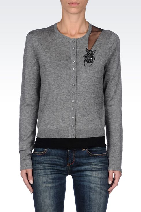 CREW NECK CARDIGAN IN WOOL AND SILK: Cardigans Women by Armani - 3