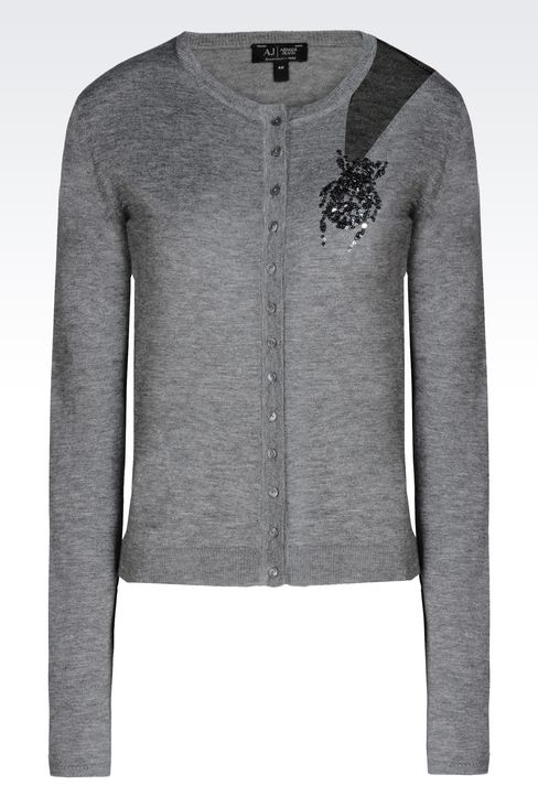 CREW NECK CARDIGAN IN WOOL AND SILK: Cardigans Women by Armani - 1