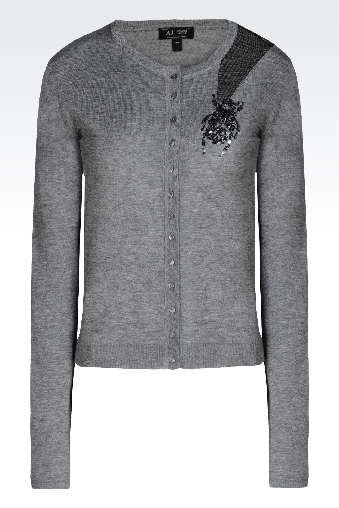 CREW NECK CARDIGAN IN WOOL AND SILK: Cardigans Women by Armani - 0