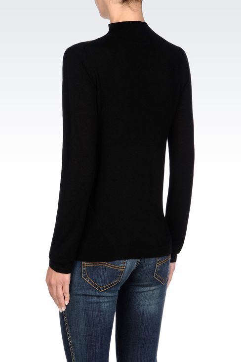 HIGH NECK JUMPER IN WOOL AND SILK: High neck sweaters Women by Armani - 4
