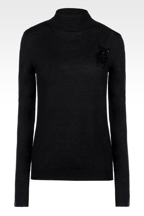 HIGH NECK JUMPER IN WOOL AND SILK: High neck sweaters Women by Armani - 1