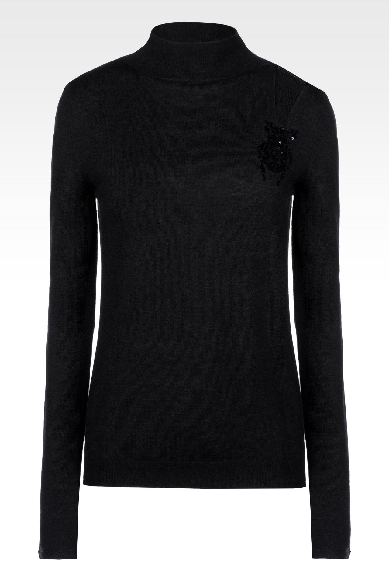 HIGH NECK JUMPER IN WOOL AND SILK: High neck sweaters Women by Armani - 0