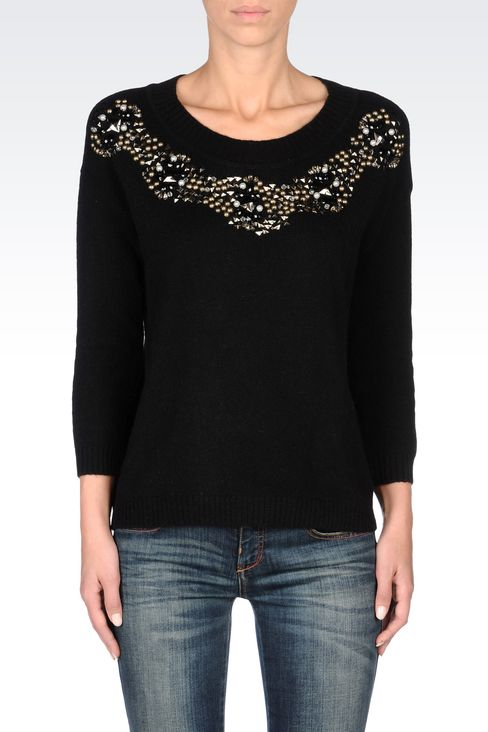 WOOL BLEND JUMPER WITH DECORATED NECKLINE: Crewnecks Women by Armani - 3