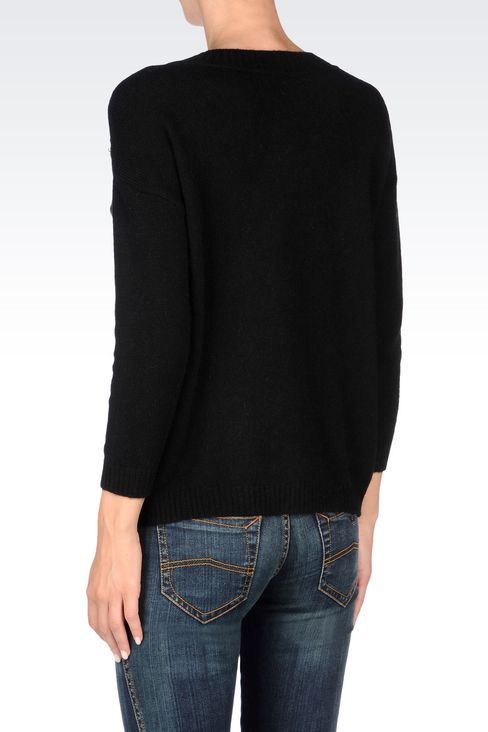 WOOL BLEND JUMPER WITH DECORATED NECKLINE: Crewnecks Women by Armani - 4