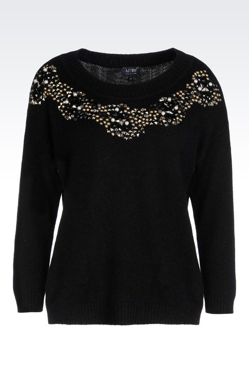 WOOL BLEND JUMPER WITH DECORATED NECKLINE: Crewnecks Women by Armani - 1