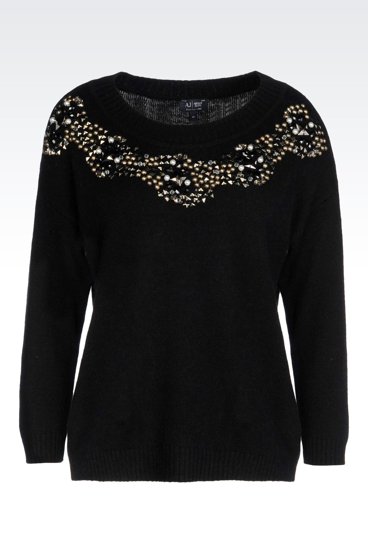 WOOL BLEND JUMPER WITH DECORATED NECKLINE: Crewnecks Women by Armani - 0