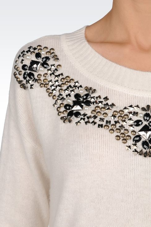 WOOL BLEND JUMPER WITH DECORATED NECKLINE: Crewneck sweaters Women by Armani - 5