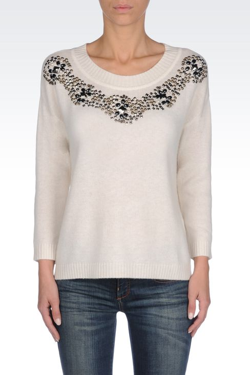 WOOL BLEND JUMPER WITH DECORATED NECKLINE: Crewneck sweaters Women by Armani - 3
