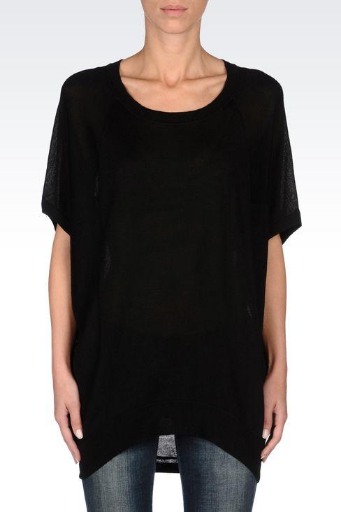 OVERSIZE JUMPER IN WOOL BLEND: Crewneck sweaters Women by Armani - 3