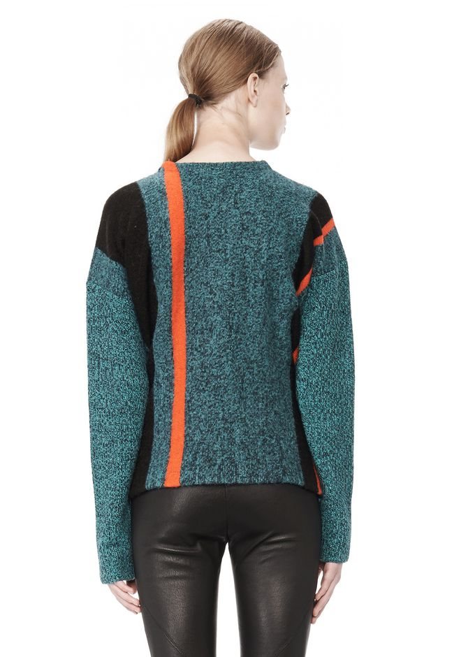 T by ALEXANDER WANG BOILED TWEED CREWNECK BAJA PULLOVER TOP Adult 12_n_d