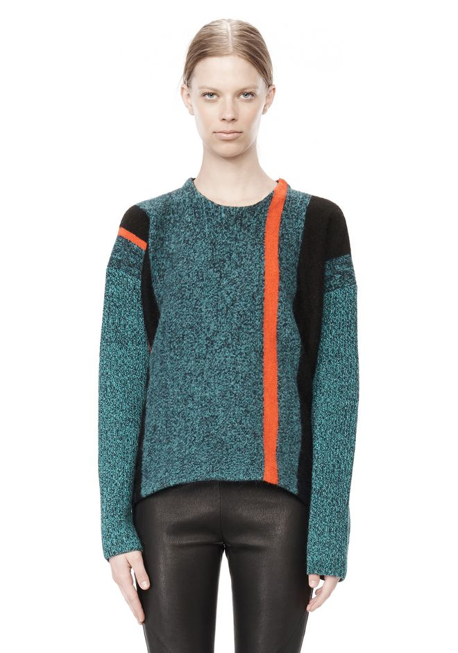 T by ALEXANDER WANG BOILED TWEED CREWNECK BAJA PULLOVER TOP Adult 12_n_e