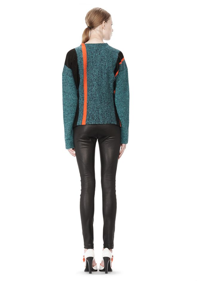 T by ALEXANDER WANG BOILED TWEED CREWNECK BAJA PULLOVER TOP Adult 12_n_r