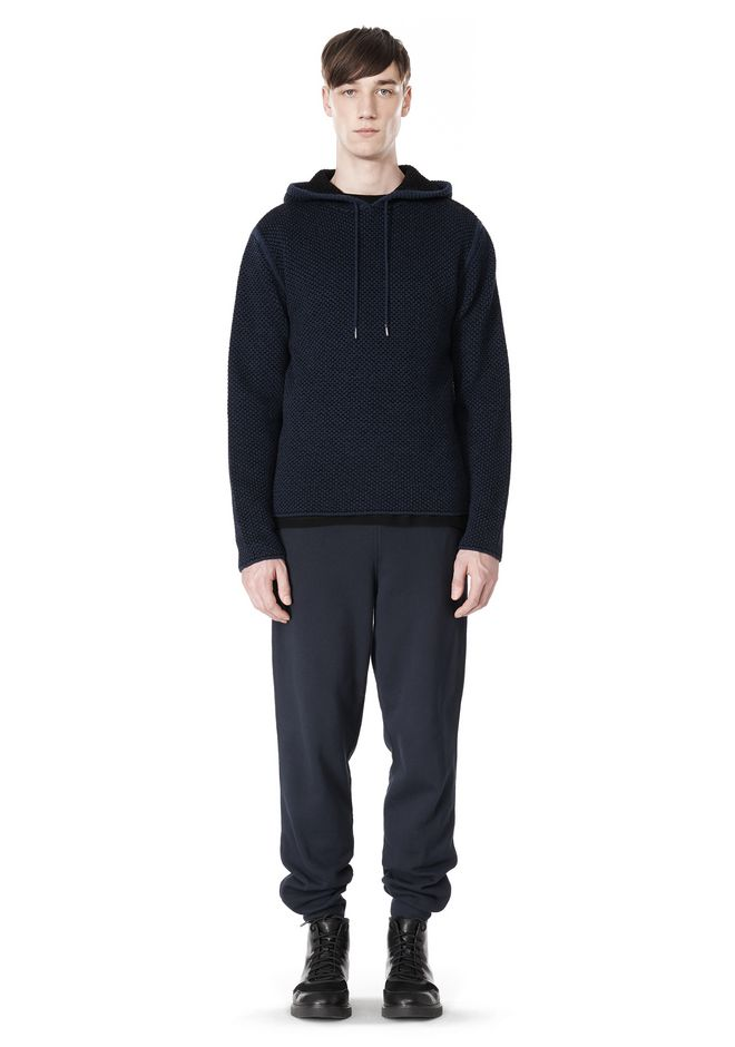 T by ALEXANDER WANG CHENILLE TUCK STITCH PULLOVER HOODIE