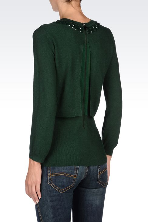 WOOL BLEND JUMPER WITH DECORATED NECKLINE: Crewneck sweaters Women by Armani - 4