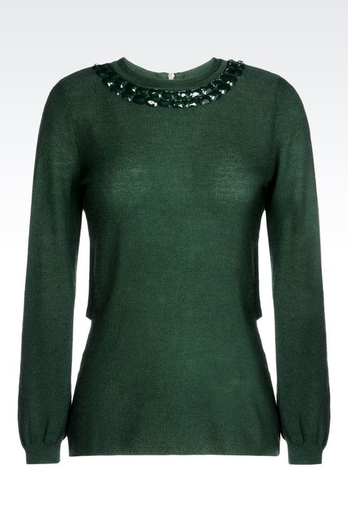 WOOL BLEND JUMPER WITH DECORATED NECKLINE: Crewneck sweaters Women by Armani - 1