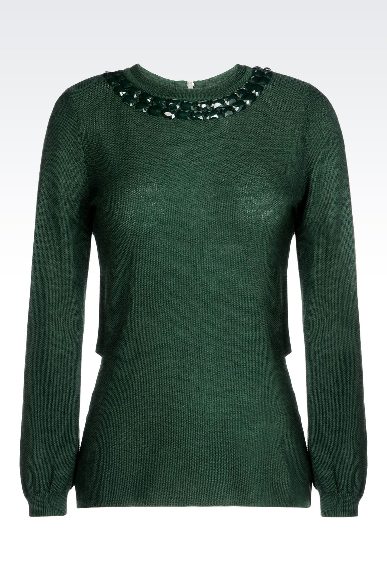 WOOL BLEND JUMPER WITH DECORATED NECKLINE: Crewneck sweaters Women by Armani - 0