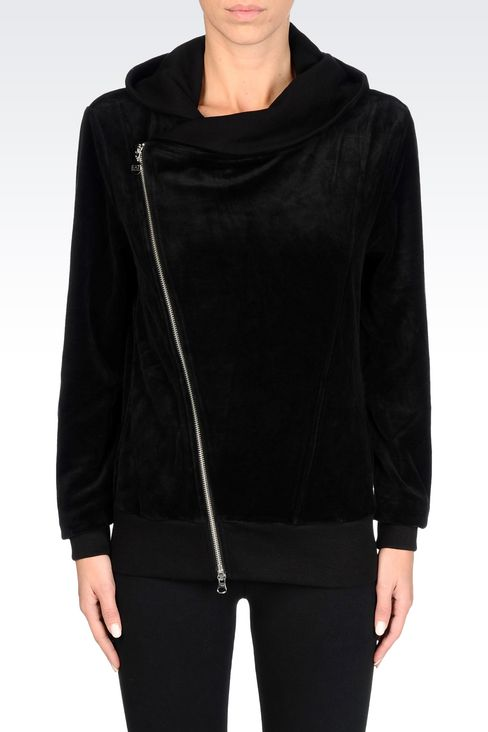 FULL ZIP HOODED SWEATSHIRT IN CHENILLE: Hooded sweatshirts Women by Armani - 3