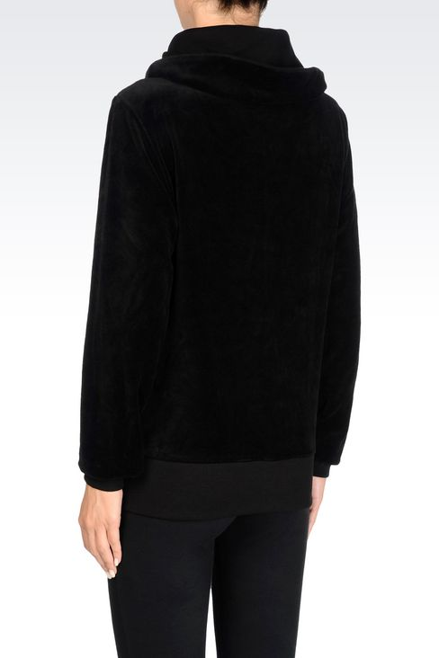 FULL ZIP HOODED SWEATSHIRT IN CHENILLE: Hooded sweatshirts Women by Armani - 4