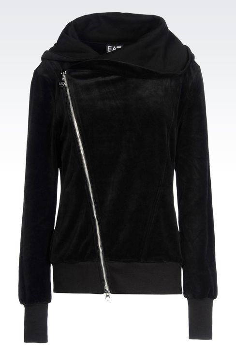 FULL ZIP HOODED SWEATSHIRT IN CHENILLE: Hooded sweatshirts Women by Armani - 1
