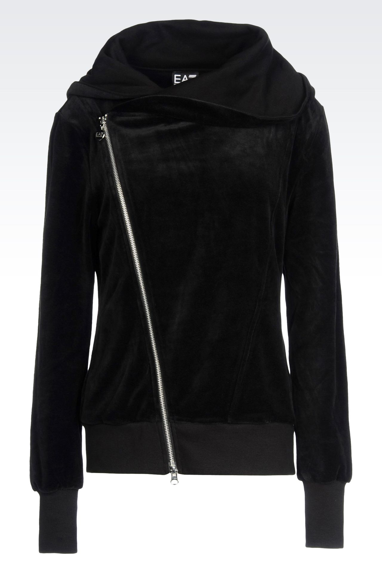 FULL ZIP HOODED SWEATSHIRT IN CHENILLE: Hooded sweatshirts Women by Armani - 0
