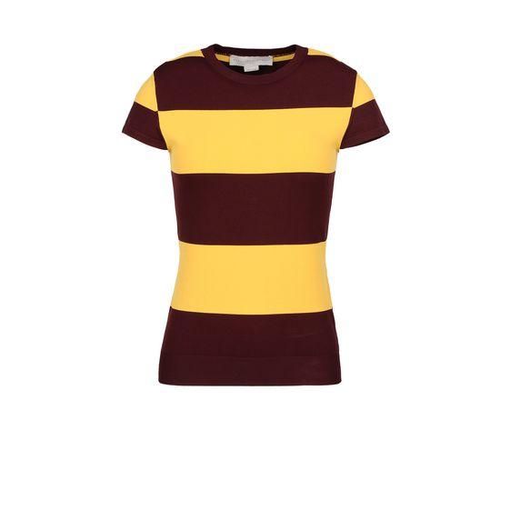 STELLA McCARTNEY, Manches courtes, Top avec rayures façon maillot de rugby