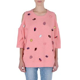 STELLA McCARTNEY, Sweatshirt à manches longues, Sweat-shirt rose avec broderie pierres précieuses