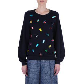 STELLA McCARTNEY, Sweatshirt à manches longues, Sweat-shirt avec broderie pierres précieuses