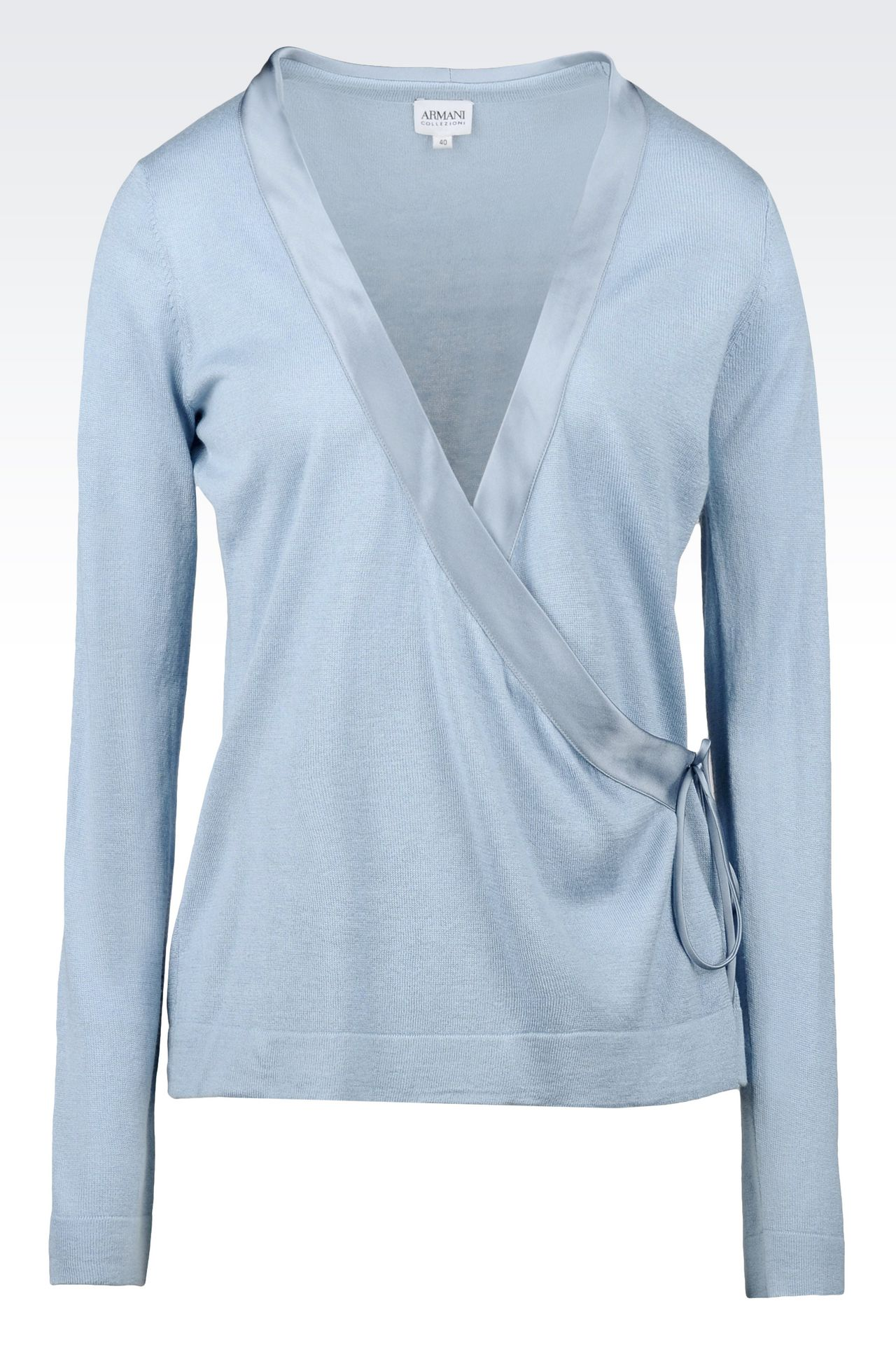 CARDIGAN IN SILK AND CASHMERE: Cardigans Women by Armani - 0