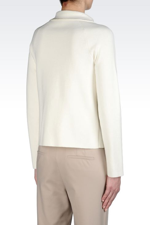 MILANO JERSEY JACKET WITH SHIRT COLLAR: Knit jackets Women by Armani - 3