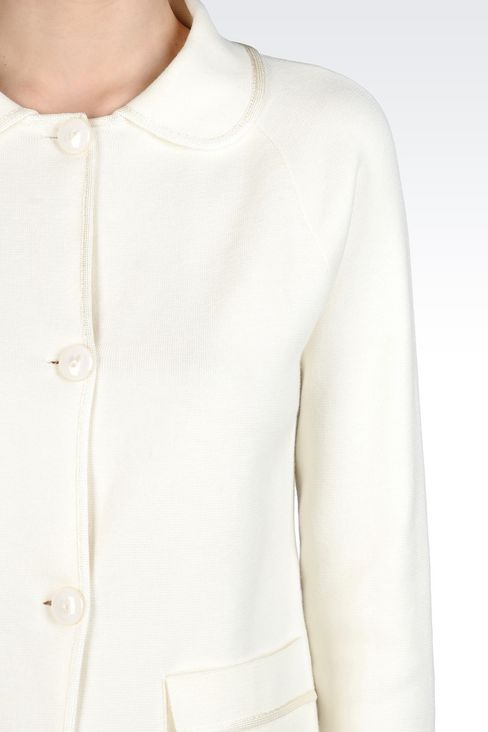 MILANO JERSEY JACKET WITH SHIRT COLLAR: Knit jackets Women by Armani - 4