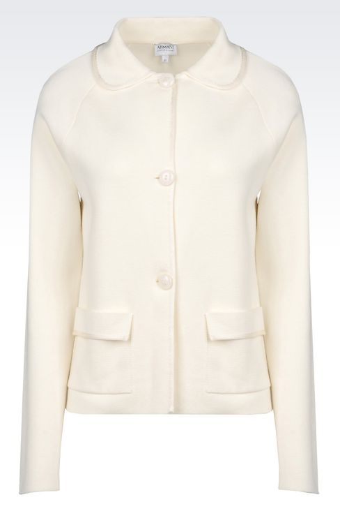 MILANO JERSEY JACKET WITH SHIRT COLLAR: Knit jackets Women by Armani - 1