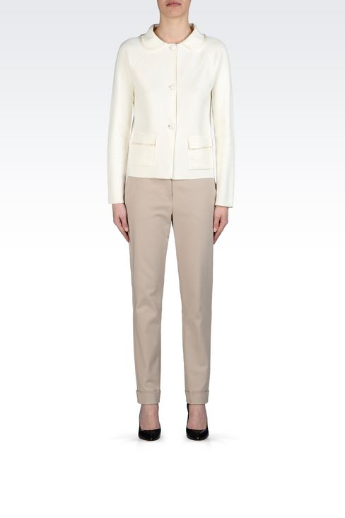 MILANO JERSEY JACKET WITH SHIRT COLLAR: Knit jackets Women by Armani - 2