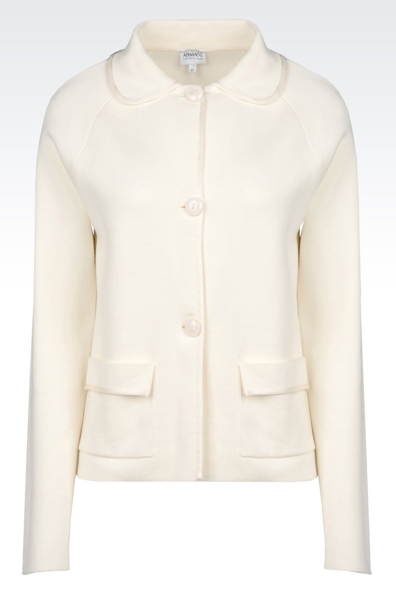 MILANO JERSEY JACKET WITH SHIRT COLLAR: Knit jackets Women by Armani - 0