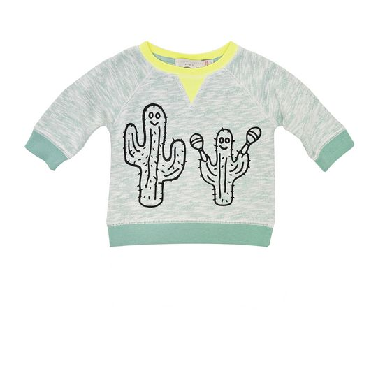 STELLA McCARTNEY KIDS, Jumpers & Cardigans, Super soft organic cotton fleece sweatshirt in palm tree tone with a cactus print design and ribbed trims.