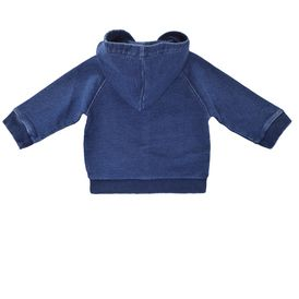STELLA McCARTNEY KIDS, Jumpers & Cardigans, Super soft cotton fleece hooded cardigan in moon grey tone. <br> With snap button fastening through the front and ribbed trims.