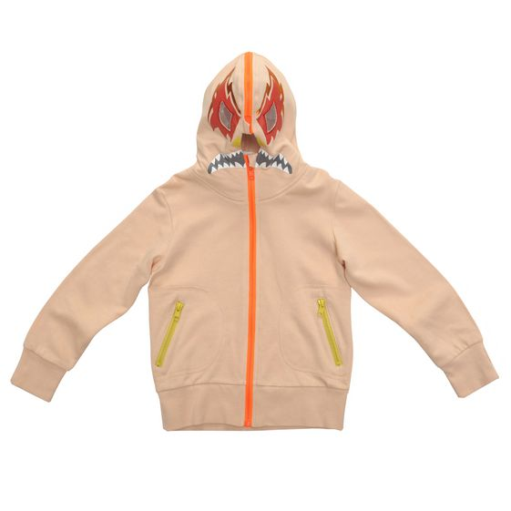 STELLA McCARTNEY KIDS, Jumpers & Cardigans, Cotton jumper in a peachy tone featuring a printed mask on the hood, two front pockets, thumbholes and fluro zip fastening. <br> Contrasting ribbed trims.